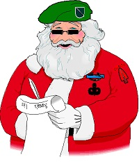Green Beret Santa with List